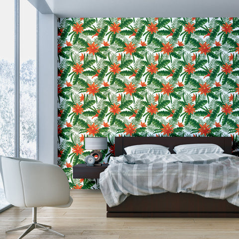 Tropical plant Pattern Chloe Self adhesive Peel and Stick Repositionable Fabric Wallpaper