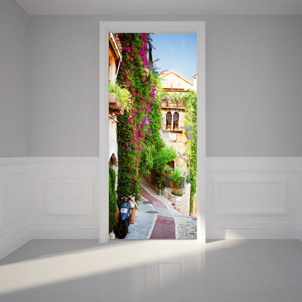 "Door Wall Sticker Town of Provence - Peel & Stick Repositionable Fabric Mural 31""w x 79""h (80 x 200cm)"