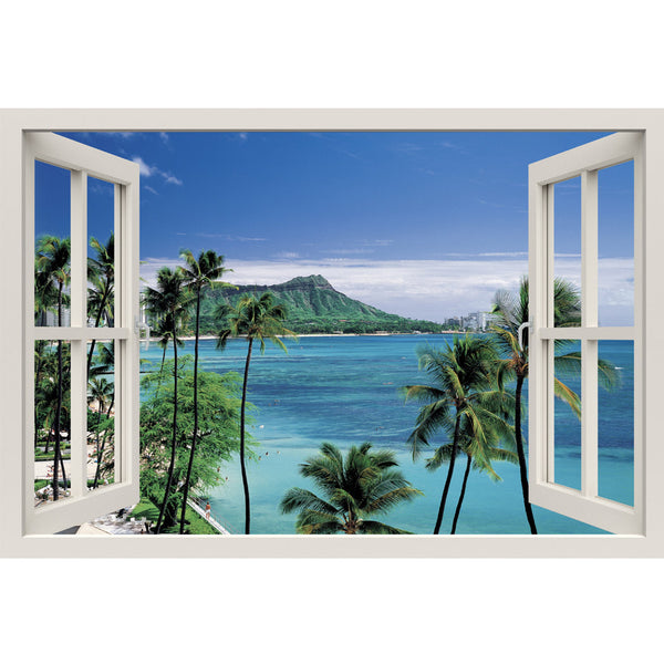 Window Frame Mural At the Seashore - Huge size - Peel and Stick Fabric Illusion 3D Wall Decal Photo Sticker