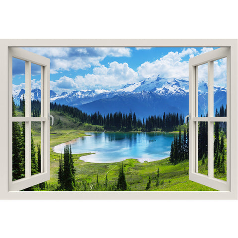 Window Frame Mural Cool water of the Lake - Huge size - Peel and Stick Fabric Illusion 3D Wall Decal Photo Sticker