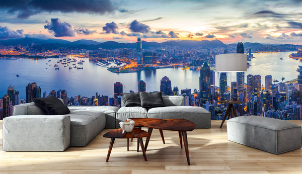 Wall Mural City and Harbor at dawn - Panoramic View - Peel and Stick Repositionable Fabric Wallpaper for Interior Home Decor