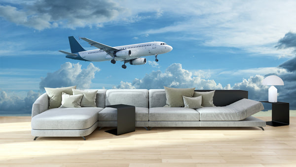 Wall Mural Airplane is flying - Panoramic View - Fabric Wallpaper