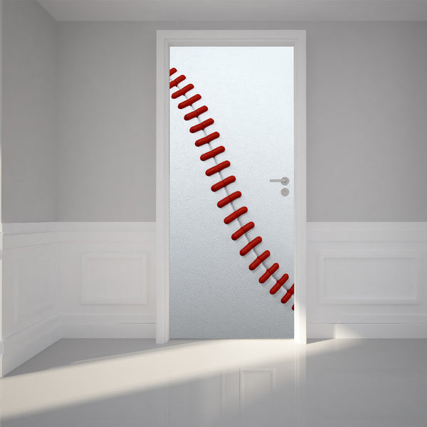 "Door Wall Sticker Baseball - Peel & Stick Repositionable Fabric Mural 31""w x 79""h (80 x 200cm)"