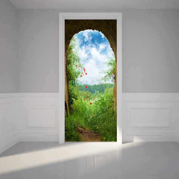 "Door Wall Sticker The light end of the Cave - Peel & Stick Repositionable Fabric Mural 31""w x 79""h (80 x 200cm)"