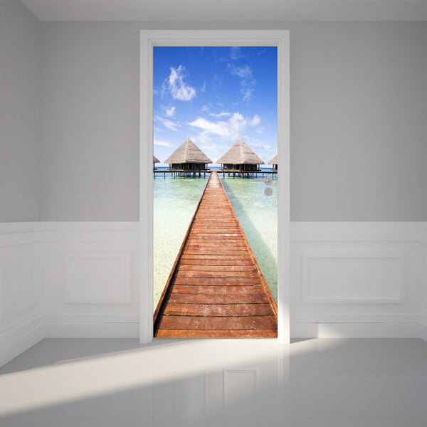 "Door Wall Sticker Tropical resort and bright sky - Peel & Stick Repositionable Fabric Mural 31""w x 79""h (80 x 200cm)"