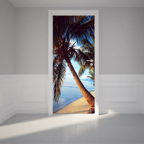 "Door Wall Sticker Palm trees with stunning blue waters - Peel & Stick Repositionable Fabric Mural 31""w x 79""h (80 x 200cm)"