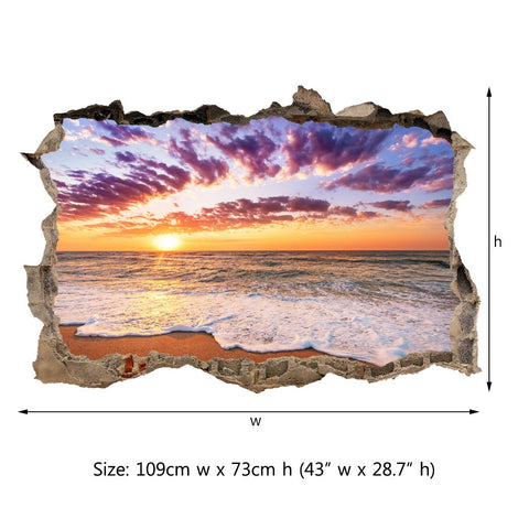 3D Through Wall Fabric Sticker Wall Decal - Sunset on caribbean sea, Peel and Stick Fabric Stickers for Home Decoration