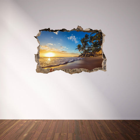 3D Through Wall Fabric Sticker Wall Decal - Paradise tropical island, Peel and Stick Fabric Stickers for Home Decoration