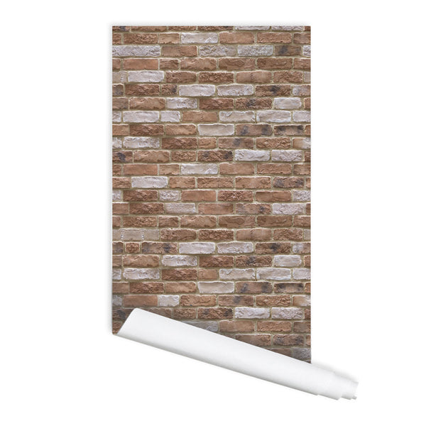 Brick Wall Pattern Oberaula Self adhesive Peel and Stick Repositionable Fabric Wallpaper