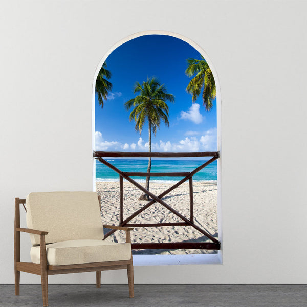 Arch balcony 3D Wall Mural Huge size - Beautiful beach and Tropical sea - Removable Peel and stick Fabric Decal
