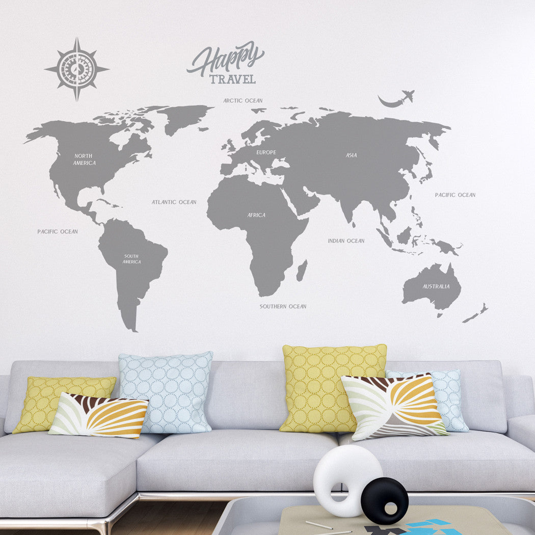 Large World Map Decal, Vinyl Wall Stickers – RoyalWallSkins