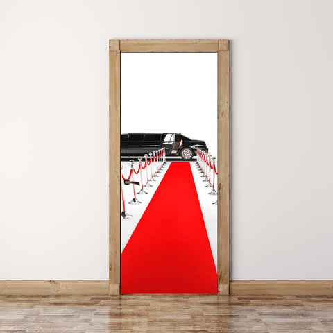 Door Mural Hollywood red carpet - Self Adhesive Fabric Door Wrap Wall Sticker