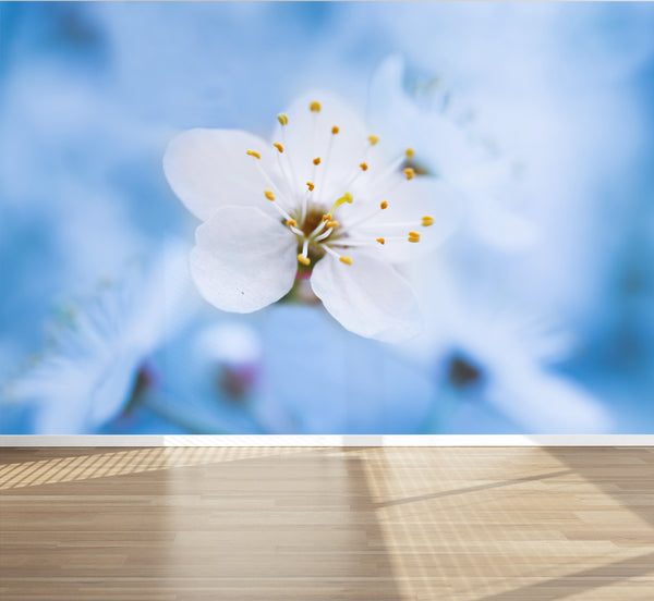 Wall Mural Flower Photography Spring blossoming, Peel and Stick Fabric Wallpaper for Interior Home Decor