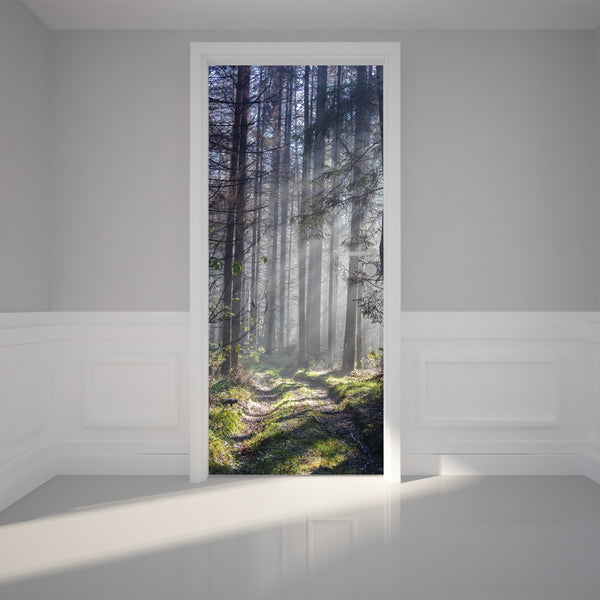 Door Wall Sticker Path through a Forest - Self Adhesive Fabric Door Wrap Wall Sticker