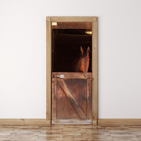 Door Mural Horse view out the stable in a barn - Self Adhesive Door Wrap Wall Sticker