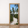 Door Mural Coconut palm trees and road - Self Adhesive Door Wrap Wall Sticker