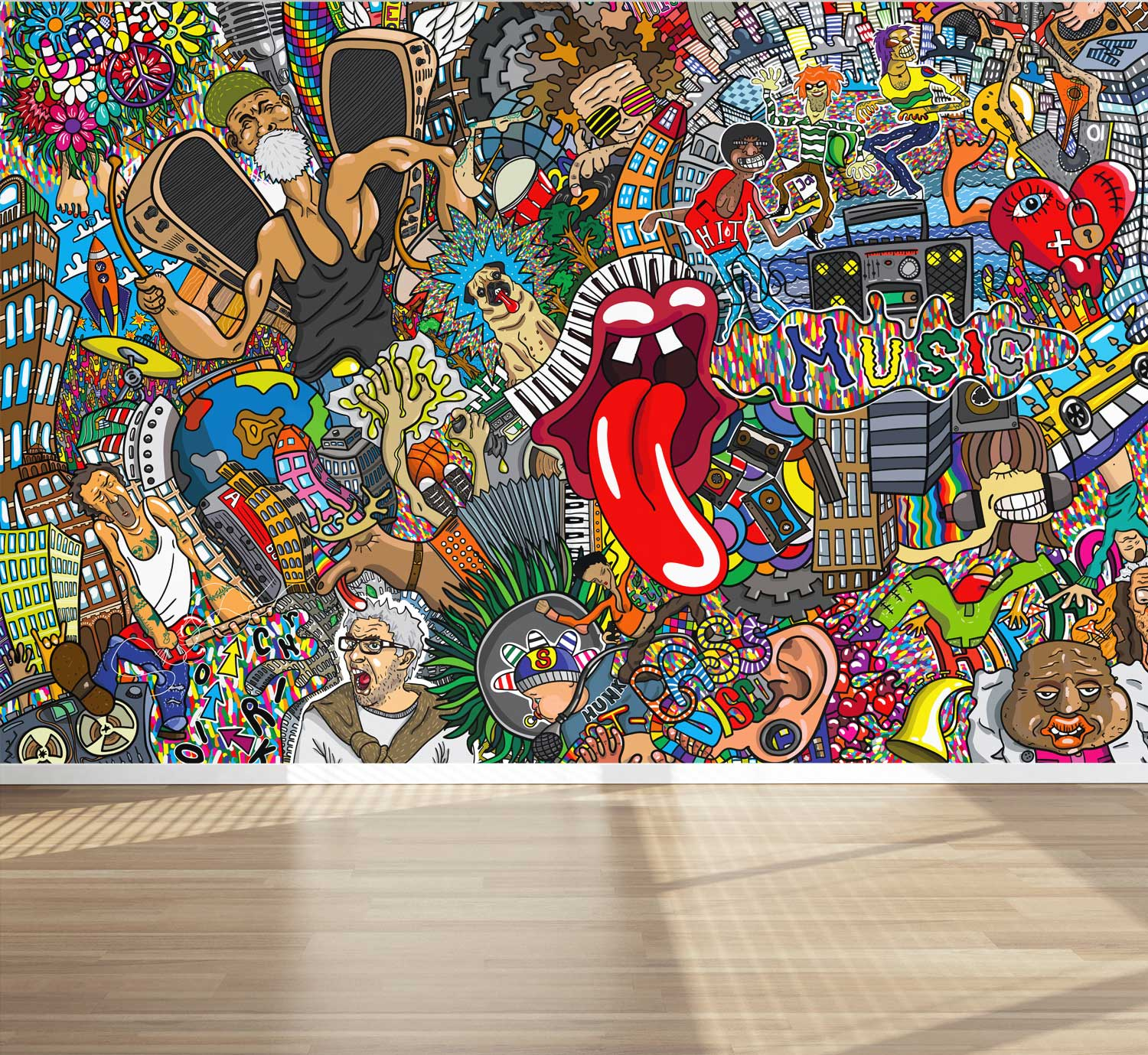 Wall Mural Graffiti Music Collage Street Style Fabric Wallpaper For