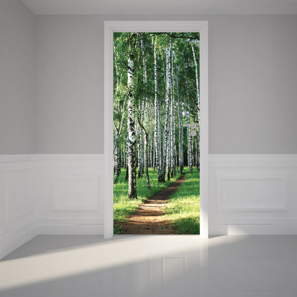 Door Wall Sticker Birch Tree Forest - Self Adhesive Fabric Door Wrap Wall Sticker