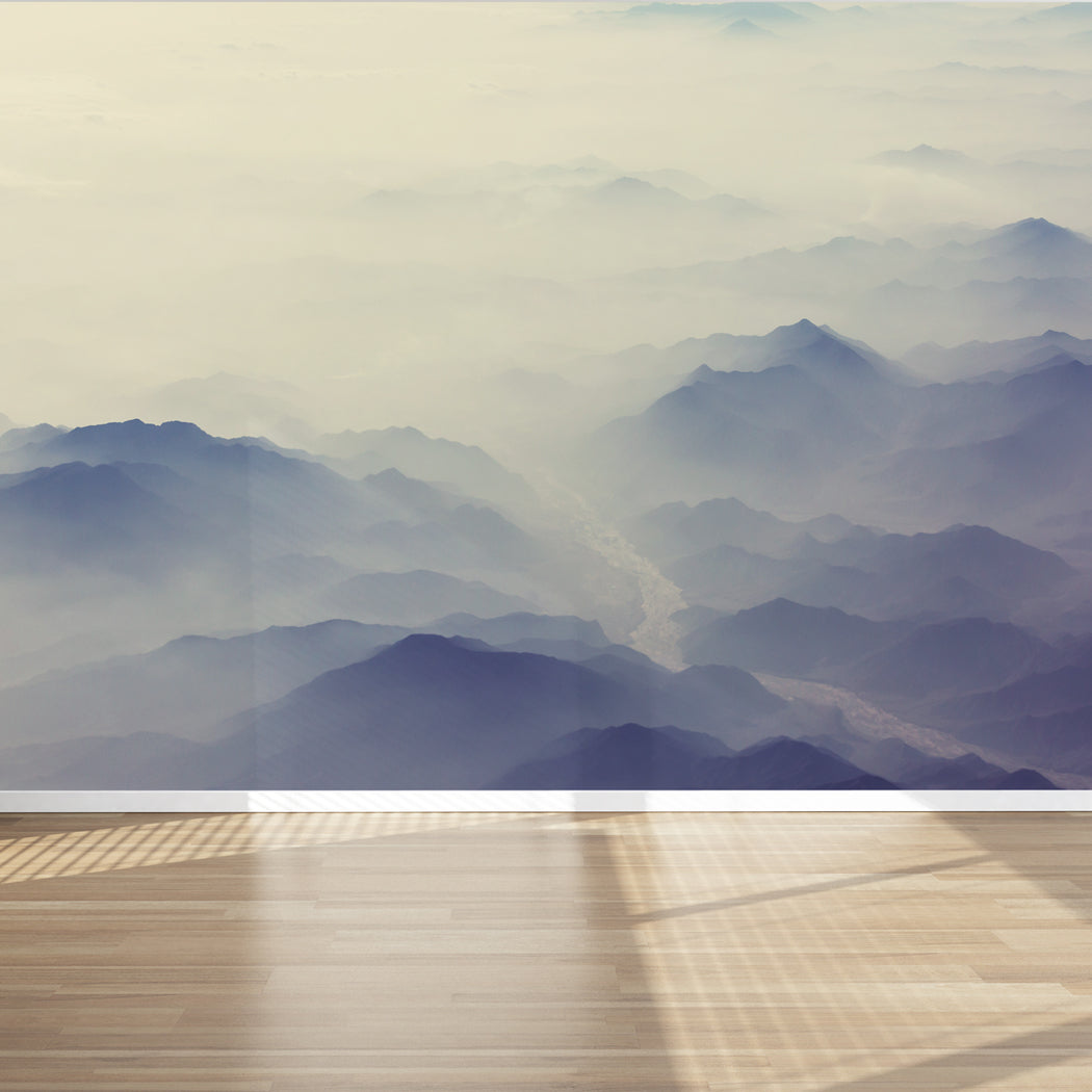 Wall Mural Foggy Mountains Silhouette Fabric Wallpaper