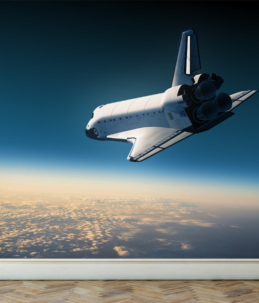 Wall Mural Space Shuttle make a landing, Peel and Stick Fabric Wallpaper