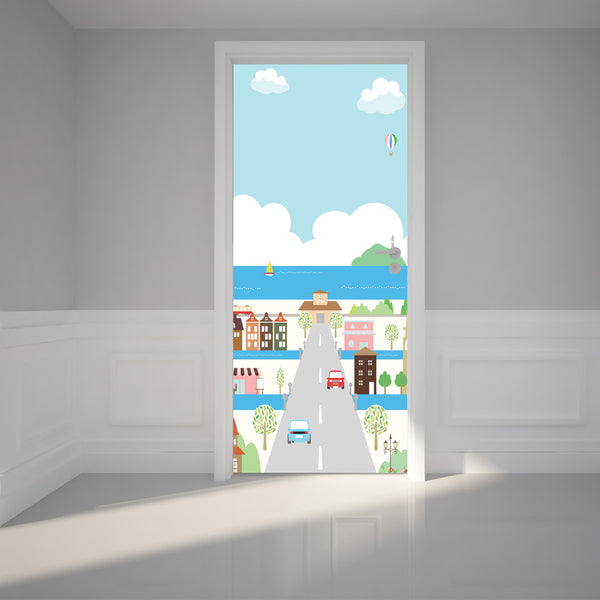 Door Wall Sticker Coastal City - Self Adhesive Fabric Door Wrap Wall Sticker