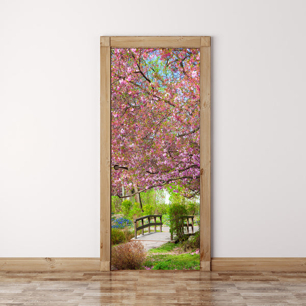 Door Mural Japanese garden Sakura - Fabric Door Wrap Wall Sticker