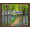 Window Frame Mural Bluebell Wood - Huge size - Peel and Stick Fabric Illusion 3D Wall Decal Photo Sticker