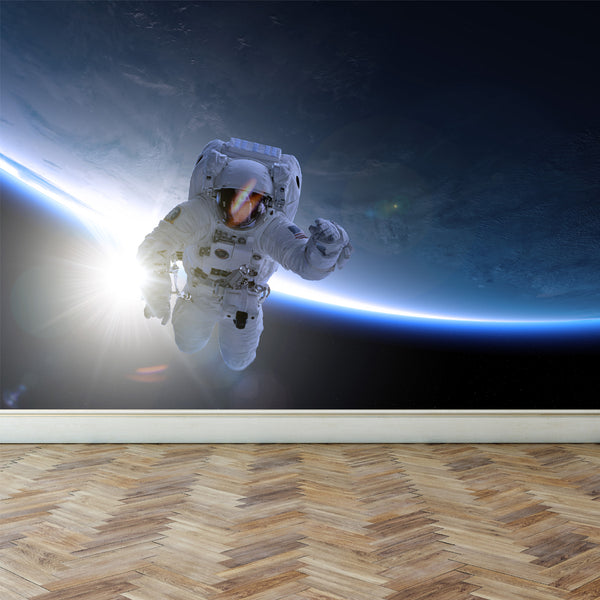 Wall Mural Astronaut take a Spacewalk, Peel and Stick Fabric Wallpaper for Interior Home Decor
