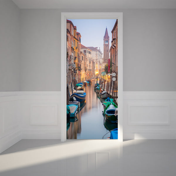 Door Wall Sticker Trip to Venice - Self Adhesive Fabric Door Wrap Wall Sticker