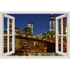 Window Frame Mural Brooklyn Bridge at night - Peel and Stick 3D Wall Decal