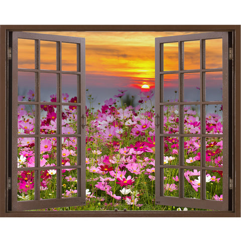 Window Frame Mural Cosmos Flower field on sun rise - Peel and Stick Fabric Wall Decal