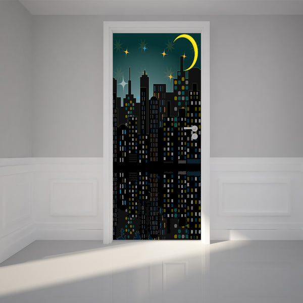 Door Wall Sticker City skyline night - Self Adhesive Fabric Door Wrap Wall Sticker