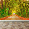 Wall Mural Straight road with trees, Peel and Stick Fabric Wallpaper