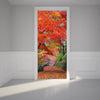 Door Wall Sticker Autumn leaves on the Walkway - Self Adhesive Fabric Door Wrap Wall Sticker