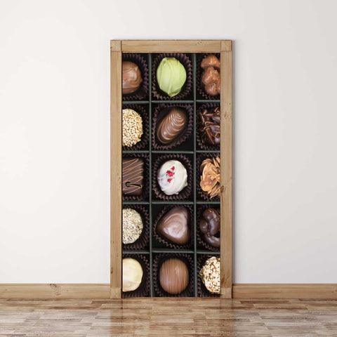 Door Mural Chocolate gift - Self Adhesive Fabric Door Wrap Wall Sticker