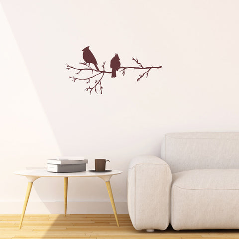 Winter Birds on Branch, Vinyl Wall Stickers Art