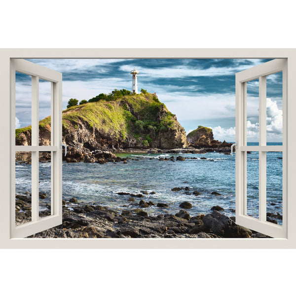 Window Frame Mural Lighthouse on a Cliff - Peel and Stick 3D Wall Decal