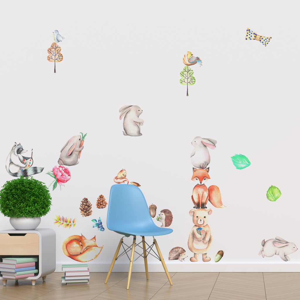 Forest animals fabric wall decal woodland animals set peel and forest animals fabric wall decal woodland animals set peel and stick fabric stickers amipublicfo Images