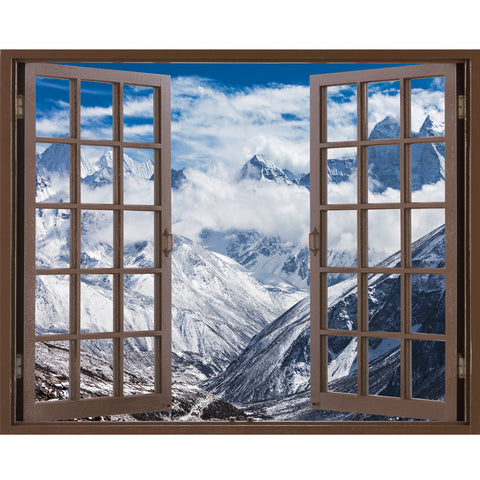 Window Frame Mural Mountains in Everest region - Peel and Stick Illusion 3D Wall Decal