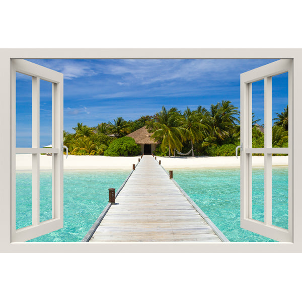 Window Frame Mural Beach on a Tropical Island - Peel and Stick 3D Wall Decal