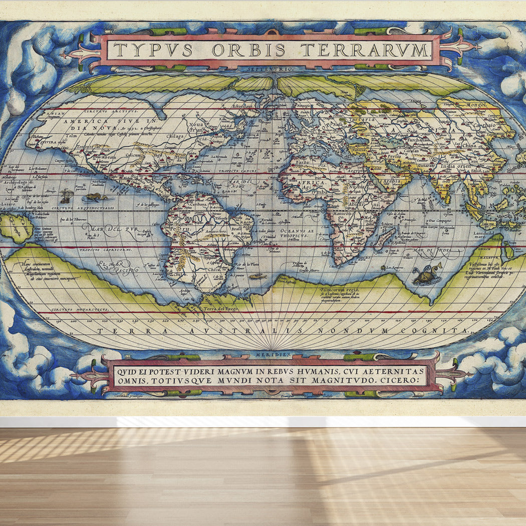 Wall Mural Old Map Of The World Ancient Style Peel And Stick