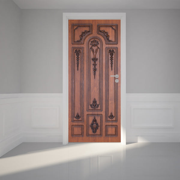 Door Wall Sticker Brown Wooden Door - Self Adhesive Fabric Door Wrap Wall Sticker