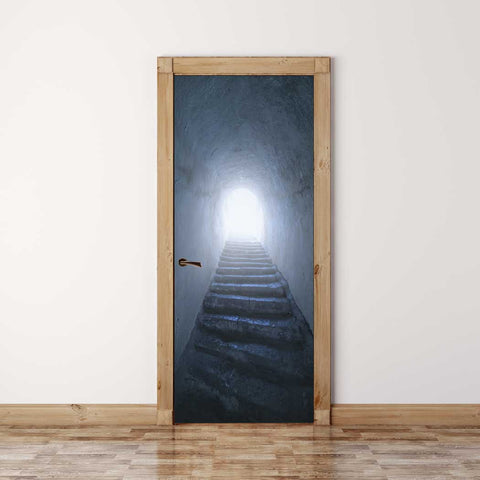 Door Mural Hope Upstairs - Self Adhesive Fabric Door Wrap Wall Sticker
