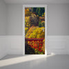 Door Wall Sticker Red Bridge and Autumn Leaves - Self Adhesive Fabric Door Wrap Wall Sticker