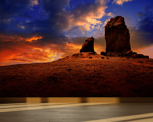 Wall Mural Roque Nublo Tejeda dramatic sunset sky, Peel and Stick Fabric Wallpaper for Interior Home Decor