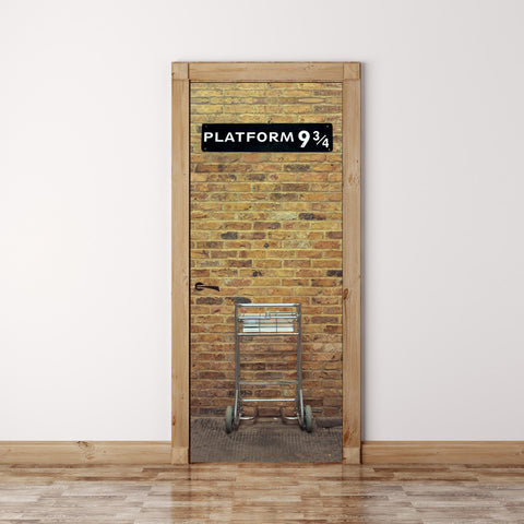 Door Mural Harry potter Platform 9 3/4 - Fabric Door Skin, Cover, Wrap