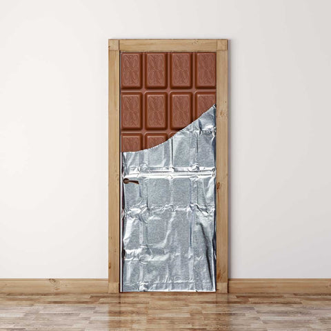 Door Mural Chocolate bar - Self Adhesive Fabric Door Wrap Wall Sticker