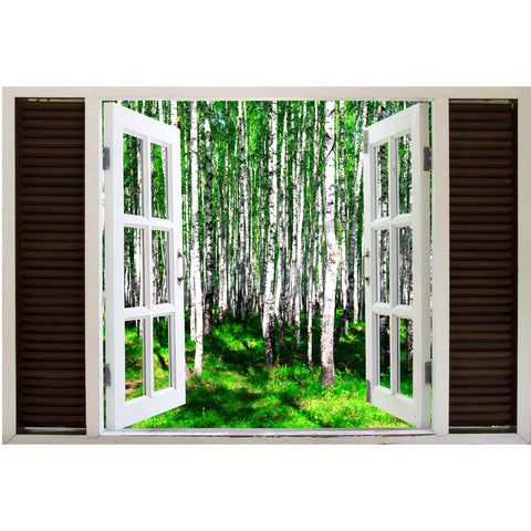 Window Frame Mural Summer Birch Forest - Peel and Stick 3D Wall Decal
