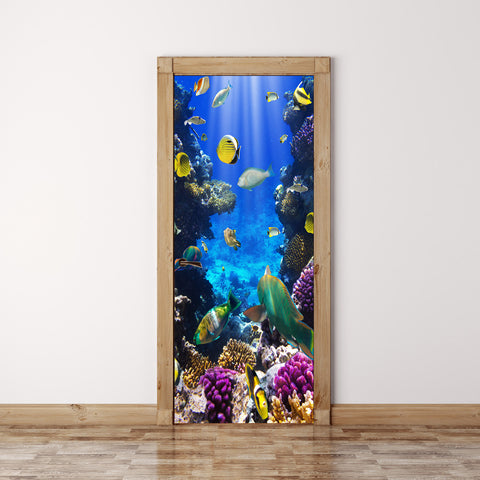 Door Mural Coral fish Underwater - Fabric Door Wrap Wall Sticker