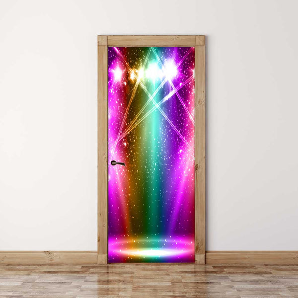 Door Mural Stage spotlight - Self Adhesive Fabric Door Wrap Wall Sticker
